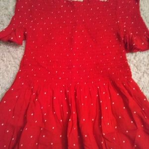 Off the shoulder red and polka dot top